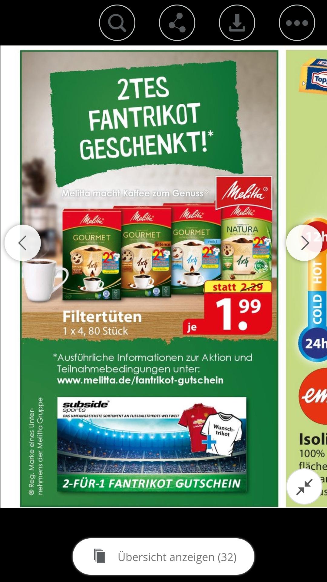 [ famila Nordost ] Melitta filtertüten aktionspackung mit 2 für 1 subsidesports Gutschein (2x adidas DFB WM 2018 ReplicaTrikot für 109,90€ dadurch möglich)