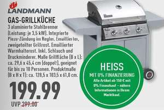 [Marktkauf Rhein-Ruhr] Landmann Gasgrillwagen 3 Brenner á 3,5 KW