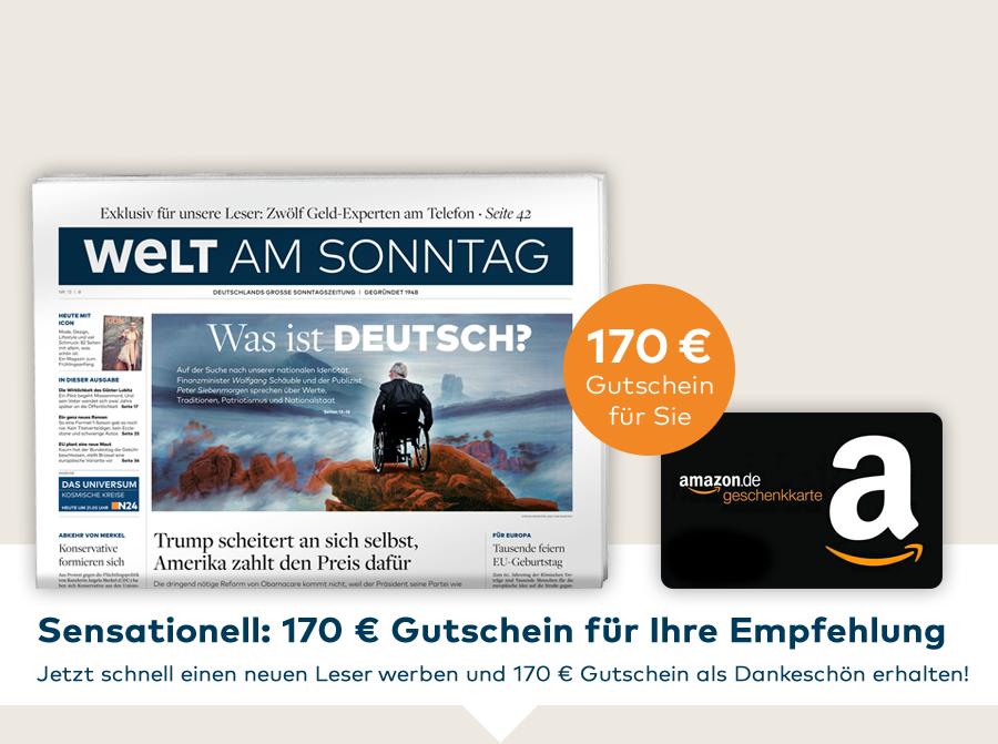 [WAMS] Welt am Sonntag 12 Monate / Abo | Leser werben Leser mit 170€ Amazon Gutschein