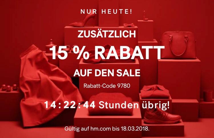 H&M Nur heute 15% extra auf den Sale mit kostenlosen Versand