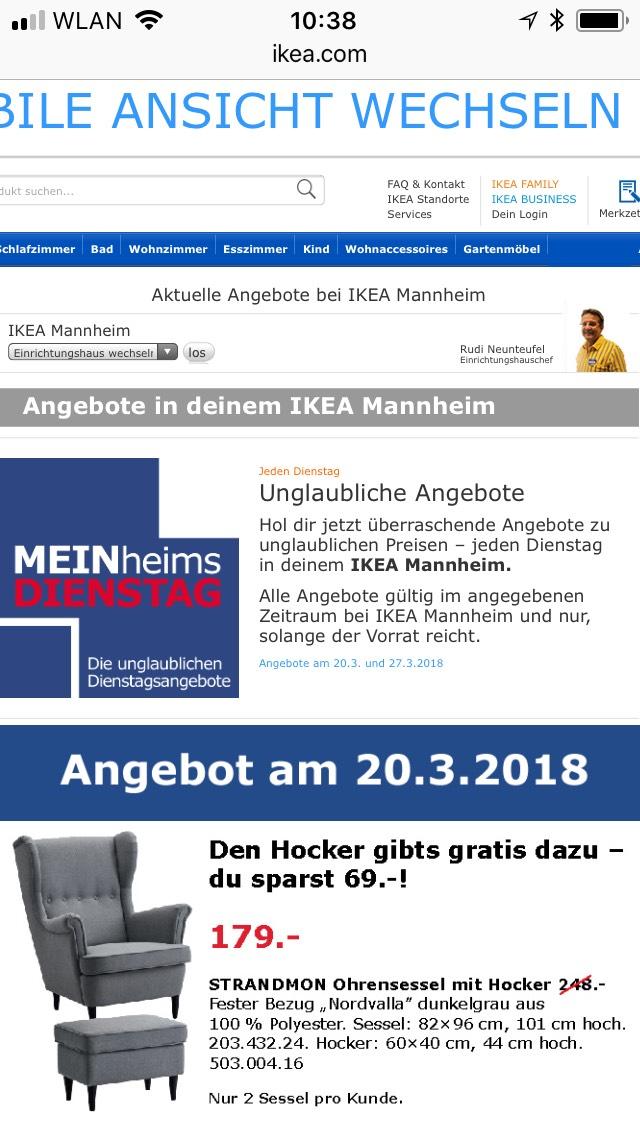 [IKEA Mannheim] STRANDMON Ohrensessel mit Hocker nur am 20.03.2018