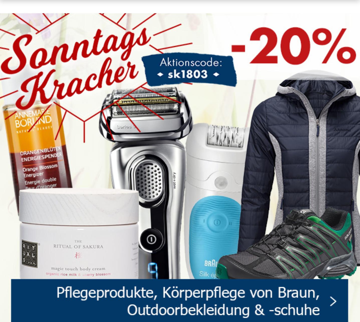 Karstadt: Heute 20% Rabatt auf Pflegeprodukte, Körperpflege von Braun, Outdoorbekleidung & -schuhe