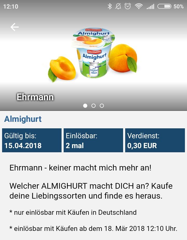 [Netto MD ab 22.03. mit Reebate] 2x Ehrmann Almighurt gratis, mit je 0,01€ Gewinn