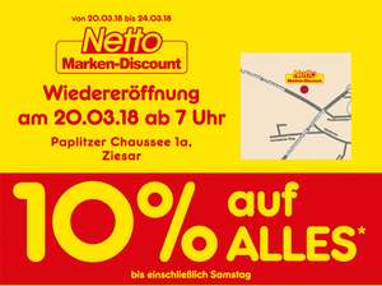(Lokal Ziesar) Netto MD Wiedereröffnung 10% auf Alles die ganze Woche