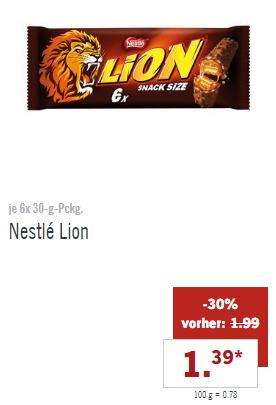 [LIDL ab 19.03] Nestlé Lion, Kitkat oder Kitkat Chunky 6er Pack für 1,39€