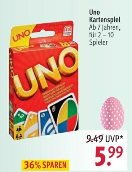Mattel UNO Kartenspiel in allen Rossmann Filialen ab 19.03. Im Angebot