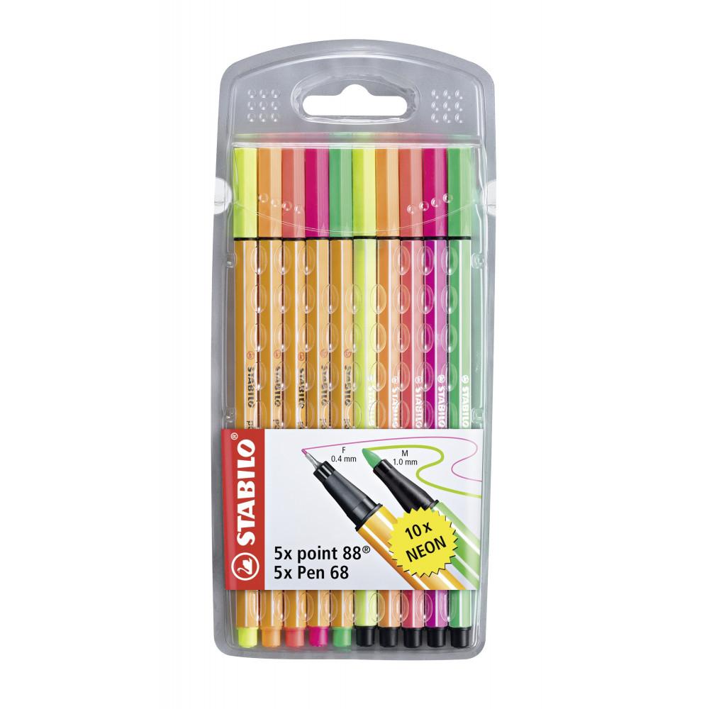 [MÜLLER] STABILO Fineliner point 88 + Pen 68 10er-Etui mit je 5 unterschiedlichen Neonfarben