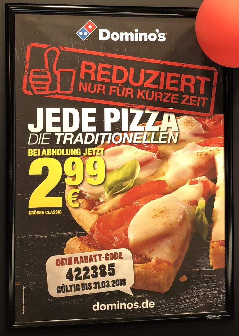[Domino's Pizza] Traditionelle Pizza in Größe Classic für 2,99 (40% Rabatt) - lokal Paderborn