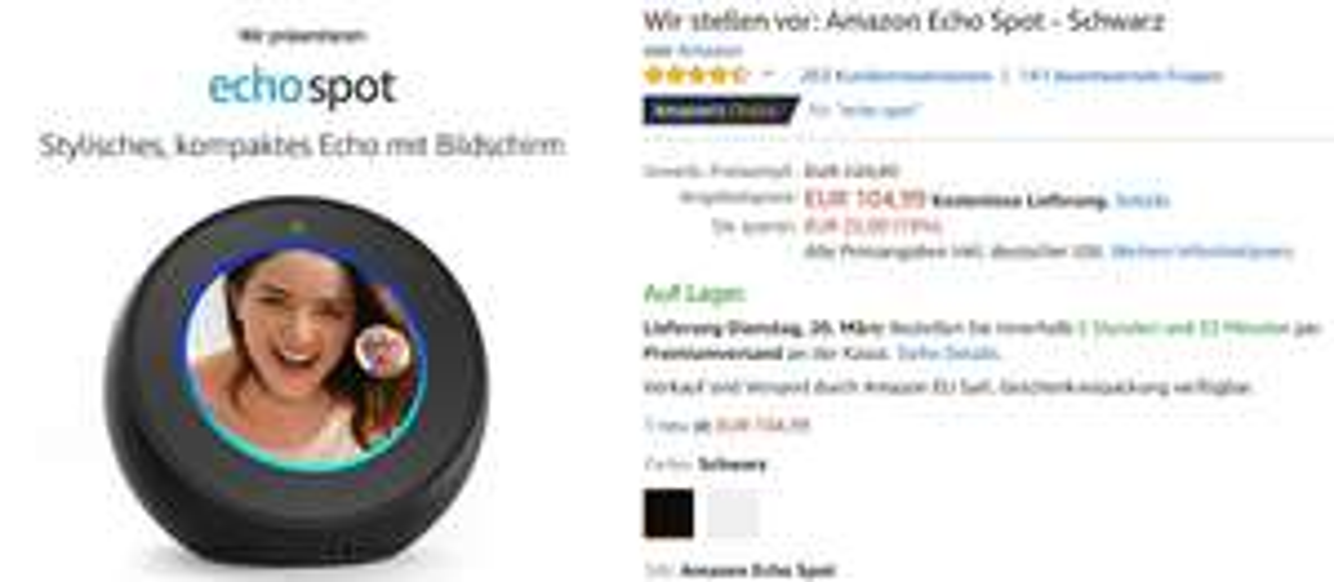 Amazon Echo Spot zum Einführungspreis für 104,99€ statt 129,99 -19%