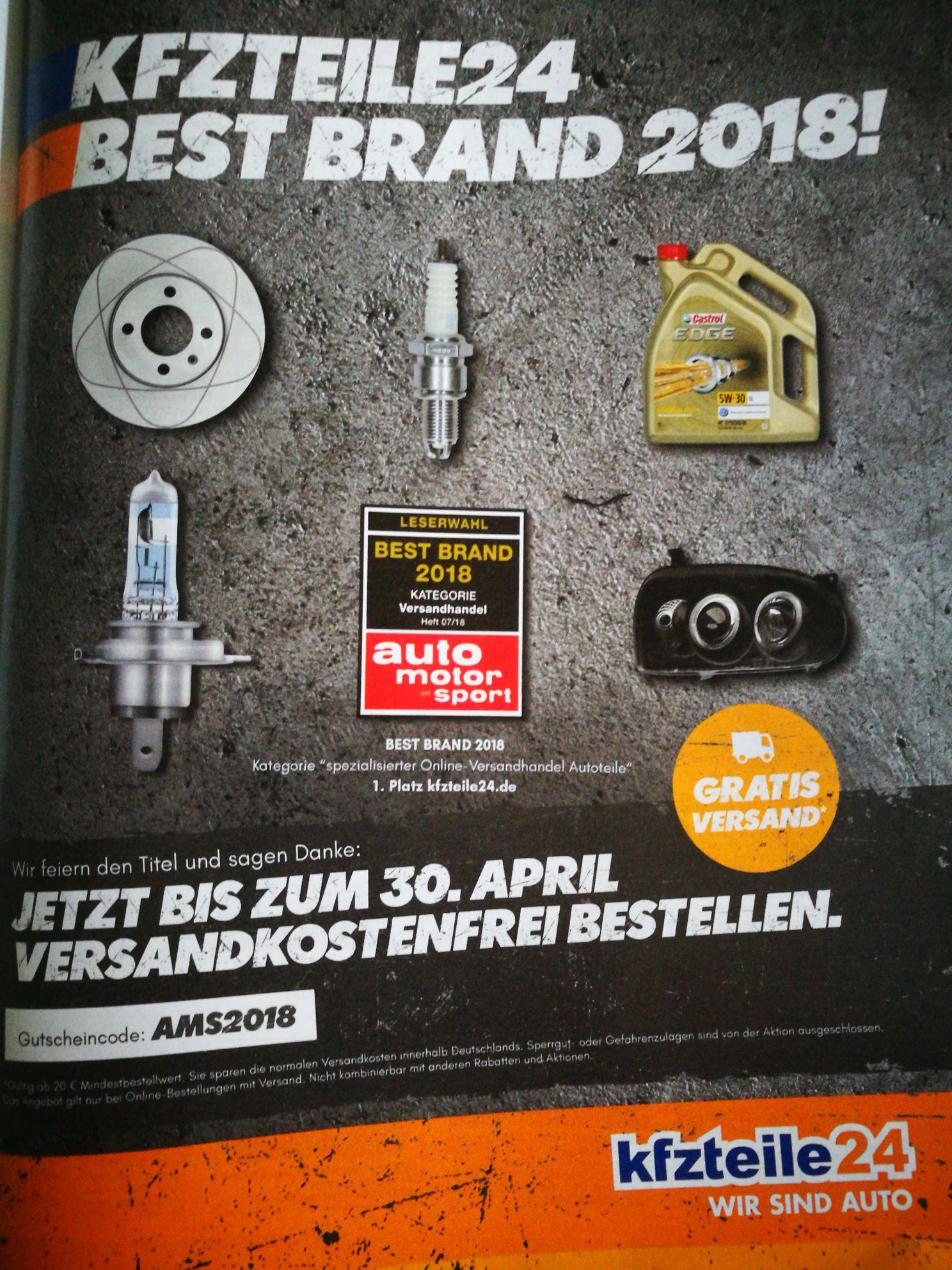 Kostenloser Versand bei Kfzteile24 ab 20 Euro MBW