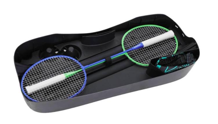 Portables Badminton-Set inkl. Netz, 2x Schläger, 2x Federbälle für Groß mit Klein (Filialversand möglich)