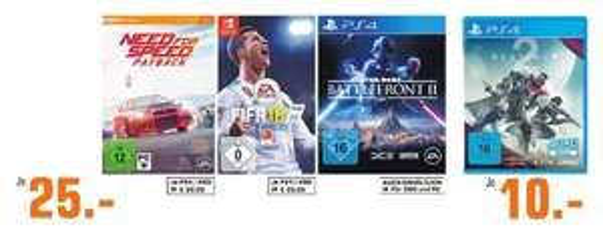 [Regional Saturn Köln ab Mittwoch] Destiny 2 (PS4,XB1,PC) für je 10,-€ // FIFA18 (Switch) für 25,-€ u. (PS4/XB1) für 29,-€ // Star Wars: Battlefront II (PS4/XB1,PC) für 25,-€// Burnout Paradise (XB1/PS4) für je 27,-€