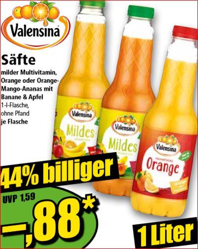 Valensina Orangensaft, verschiedene Sorten, für nur 88 Cent [Norma]