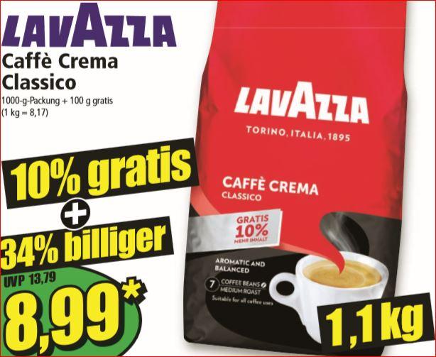 LAVAZZA Caffè Crema Classico 1kg-Packung + 100g gratis für 8,99 Euro [Norma]