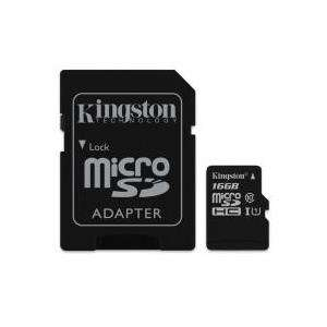 Kingston 16 GB microSDHC Karte, UHS-I, Class 10, inkl. SD Karten Adapter (SDC10G2/16GB)