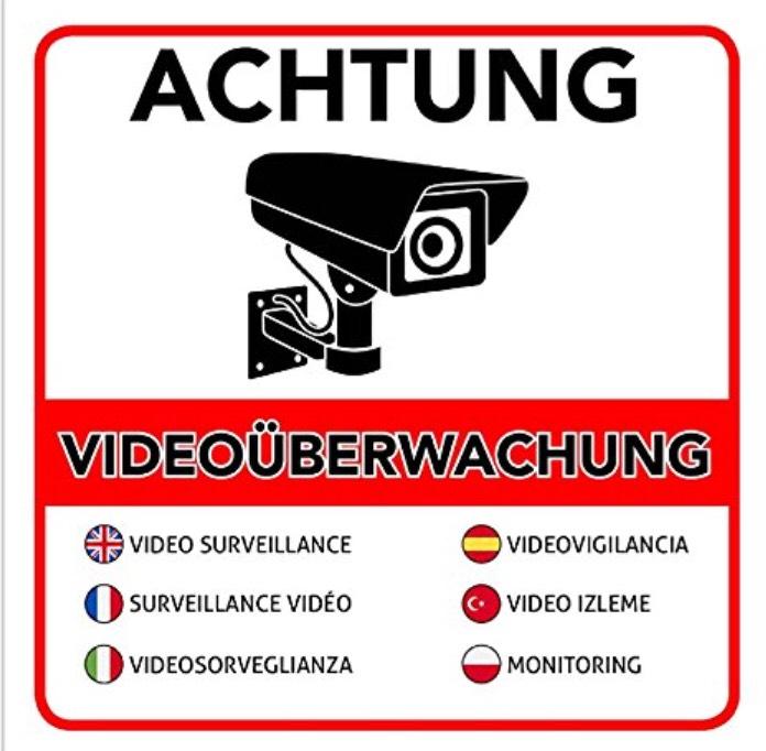 5+1 Warnaufkleber Videoüberwachung