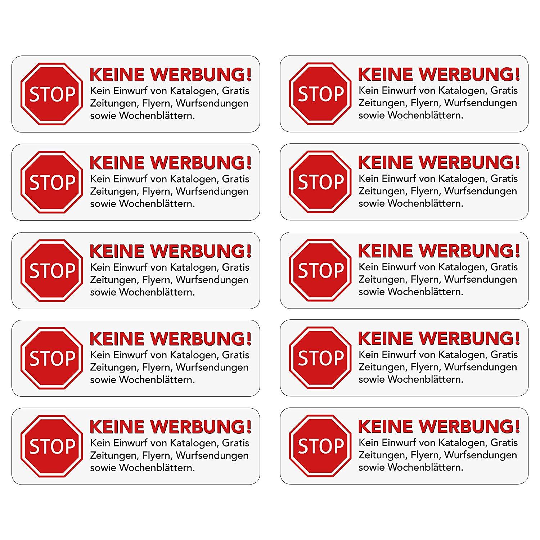 10 Stück: Keine Werbung Briefkastenaufkleber fuer 0,99 Euro