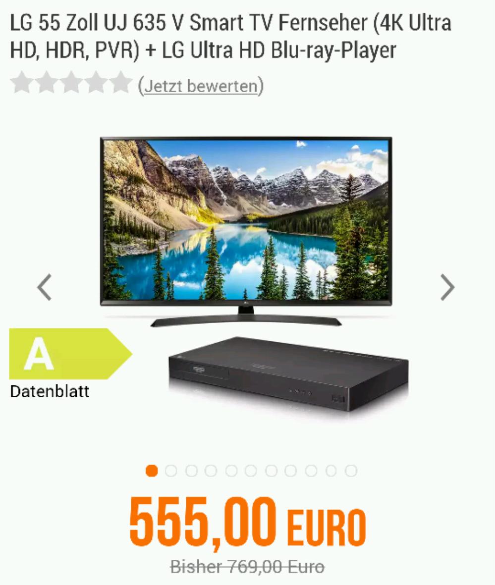 NBB: LG 55UJ635V Smart TV (4K, HDR, PVR) + LG Ultra HD Blu-ray-Player (Neupreis: 163,99€) für 589,45€