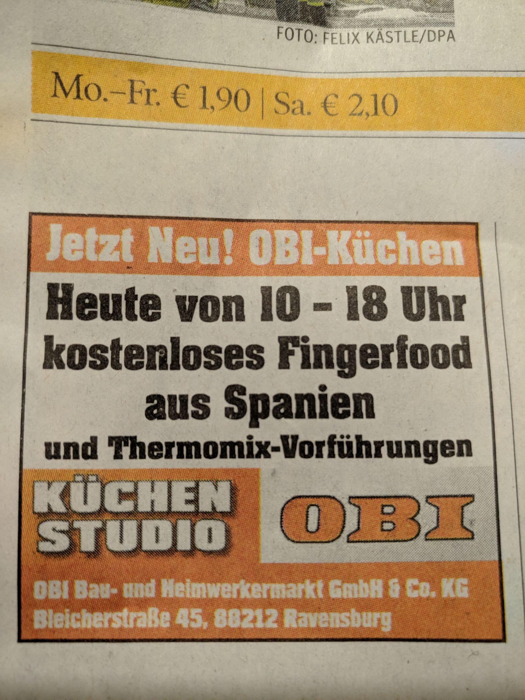 [lokal] OBI Ravensburg - kostenloses Fingerfood