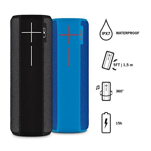 Bundle - 2 x Ultimate Ears Boom 2 (NFC, spritzwassergeschützt, stoßfest) schwarz und blau
