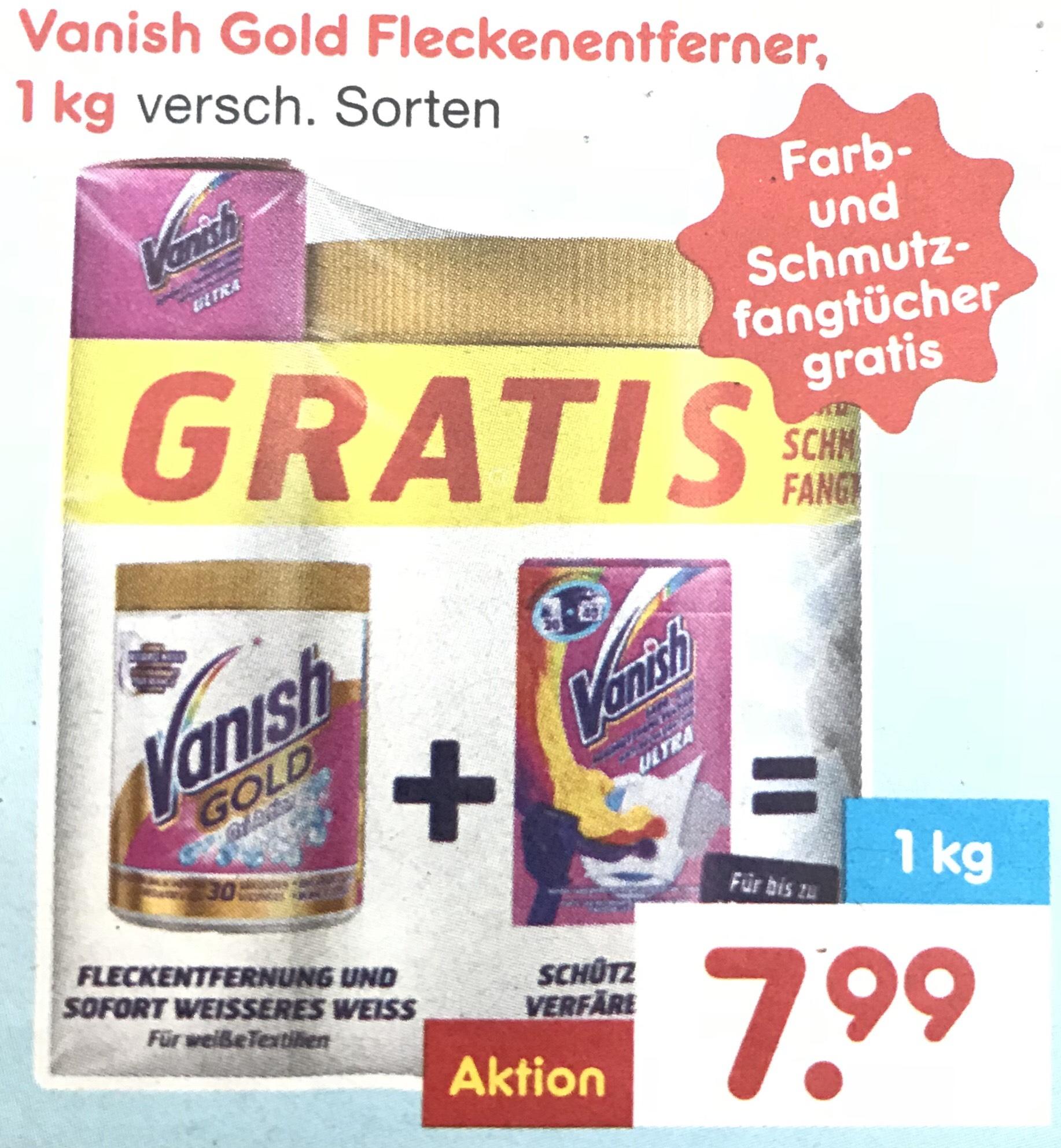 Vanish Gold Fleckenentferner mit Gratisbeigabe >Netto<.