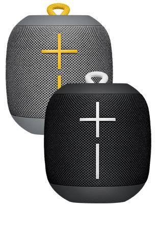 (o2.de) DOPPELPACK - Ultimate Ears UE Wonderboom Wasser- und Staubdichter Bluetooth Lautsprecher in Schwarz/Weiß + Grau/Gelb