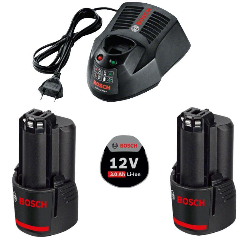 [svh24] Bosch Ladegerät GAL 1230 CV + 2 x 12V 3.0Ah Akkus