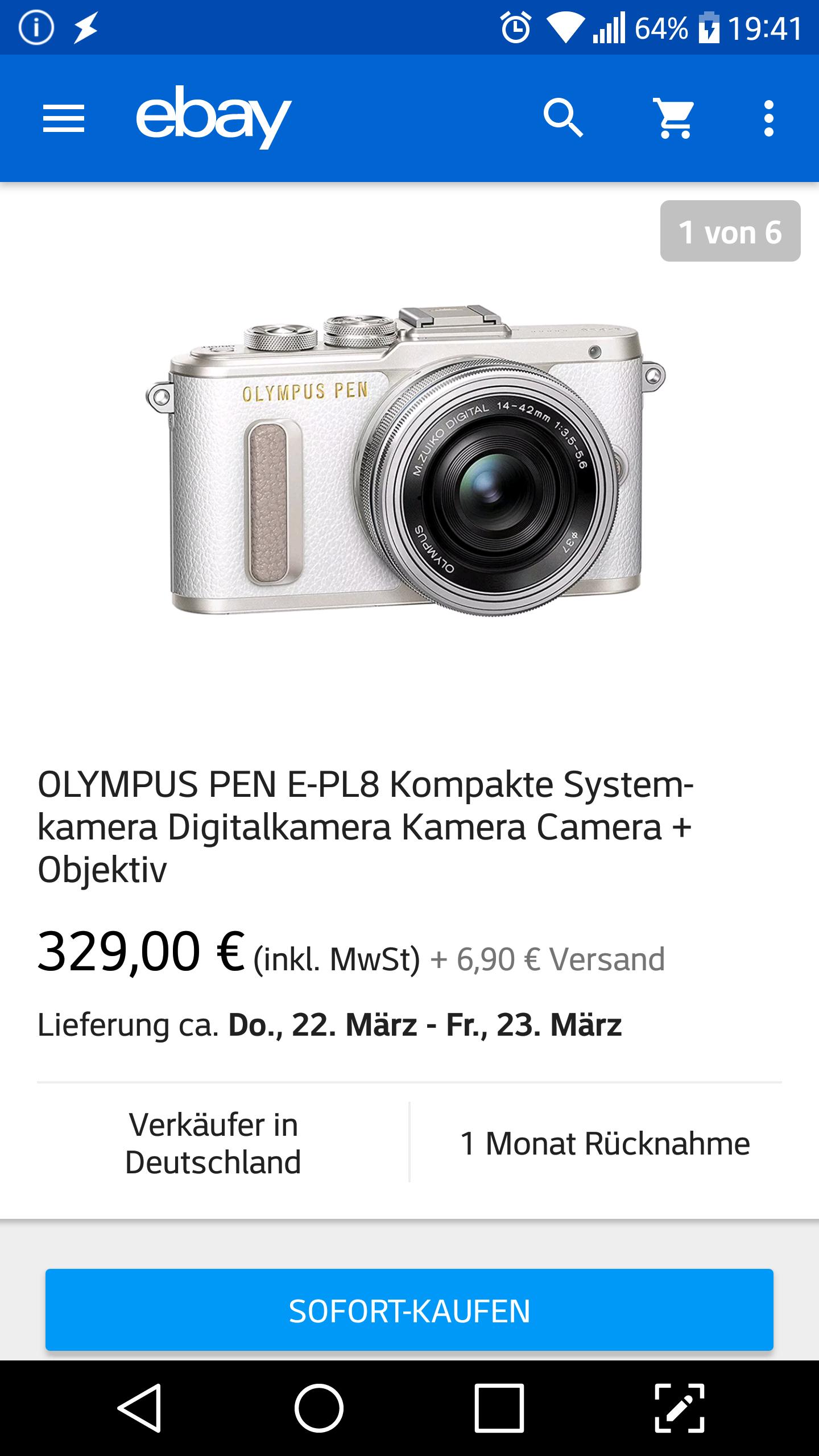 (Ebay) Wie Neu B-Ware/MFT OLYMPUS E-PL8 Systemkamera inkl. 14-42 mm Objektiv