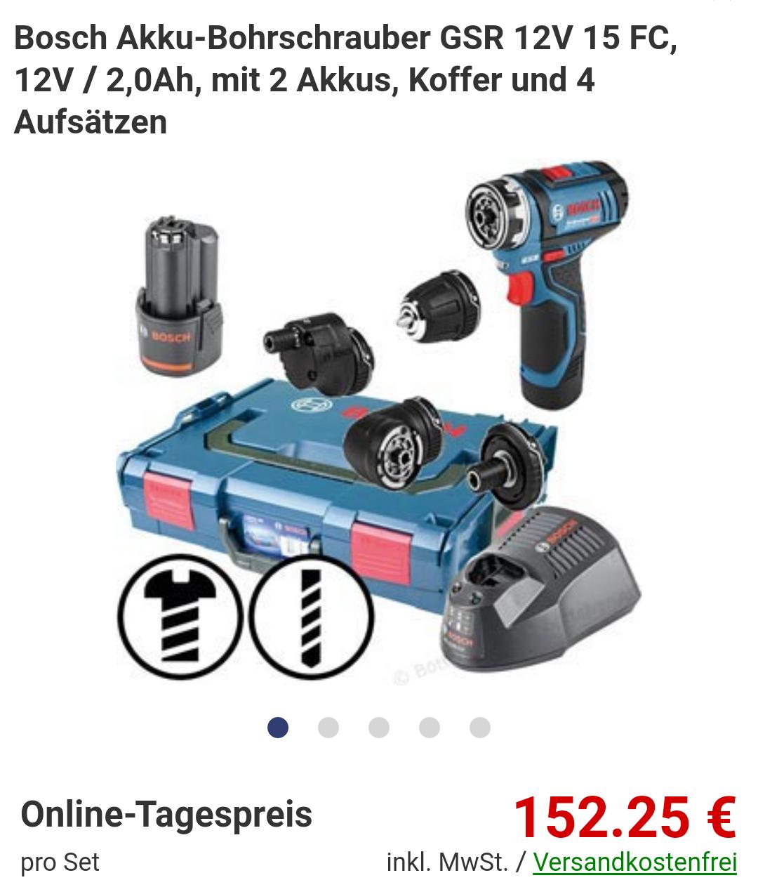 Bosch Akku-Bohrschrauber GSR 12V 15 FC, 12V / 2,0Ah, mit 2 Akkus, Koffer und 4 Aufsätzen