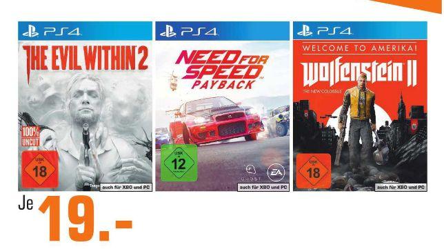 [Regional Saturn-Märkte Berlin/Potsdam] The Evil Within 2 // Need for Speed Payback // Wolfenstein 2 (PS4,XB1 und PC) für je 19,-€