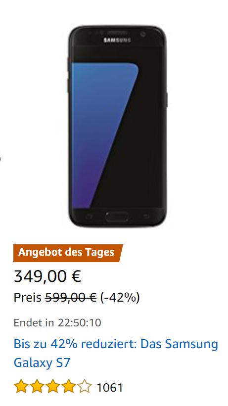 Samsung Galaxy S7 für 349€ Oster Angebot Amazon