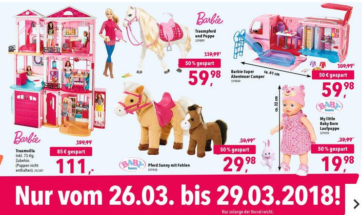 Toys`R`US Barbie Taum Villa / Traumpferd / Abenteuercamper vom 26.03 - 29.03