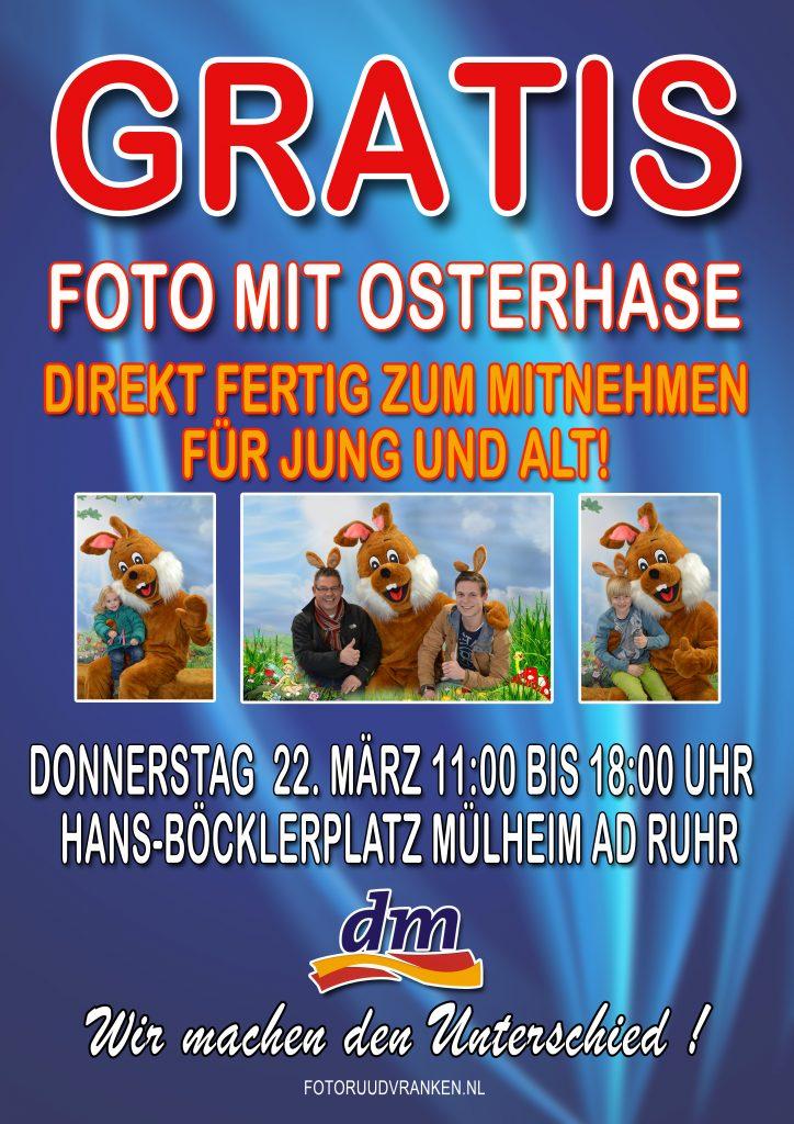 [ Mülheim (Ruhr) / NRW ] Gratis Hochglanzfoto mit Osterhasen zum Mitnehmen @ dm drogerie am Hauptbahnhof