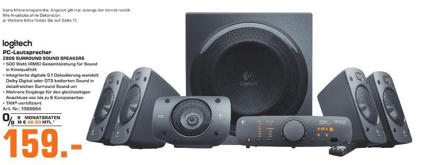 [Regional Saturn Bochum] Logitech Z906 3D Stereo Lautsprecher THX (Dolby 5.1 Surround Sound und 500 Watt) schwarz für 159,-€