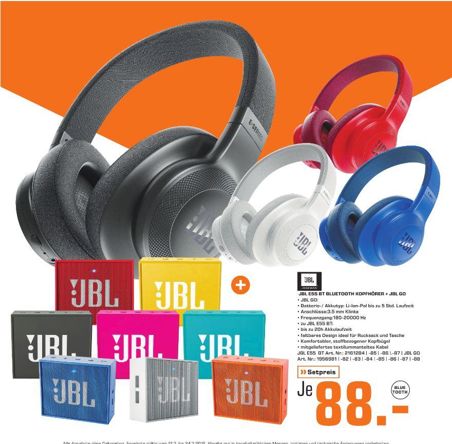[Regional Saturn Dresden) JBL E55BT - Over-Ear - Bluetooth Kopfhörer mit Mikrofon + JBL Go Bluetooth- Lautsprecher in verschiedenen Farben für zusammen je 88,-€