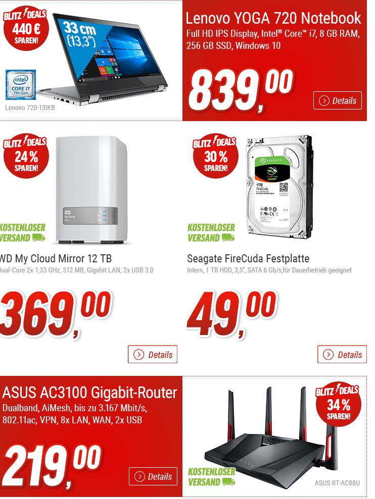 [nbb] Blitz-Deals von 11-13 Uhr: Lenovo YOGA 720-13IKB (Full HD, IPS, i7-7500U, 8GB, 256GB SSD) für 839€ // Seagate FireCuda 1TB SATA (8GB SSD Cache, PMR) für 49€ // WD My Cloud Mirror 12TB für 369€ // ASUS RT-AC88U (AC3100, 802.11ac) für 219€