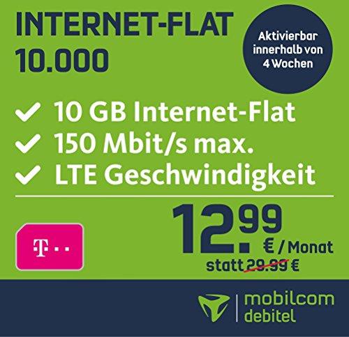 Mobilcom Debitel 10GB LTE im Telekom Netz 12,99€/Mon. (Only Data)