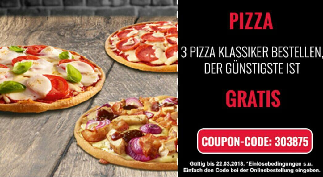 [Dominos] 3 Pizza Klassiker zum Preis von 2 (günstigste gratis)