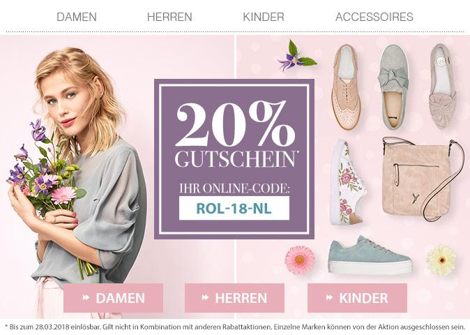 Roland Schuhe 20% Rabattgutschein bis 28.3.18