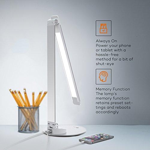 [Amazon] Tao Tronics LED Schreibtisch-/Tageslichtlampe mit USB & 5 Helligkeitsstufen und 5 Farbtemperaturen