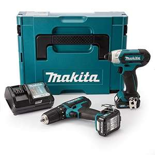 Makita CLX202AJ 10,8V Set mit HP 331 D Akku Schlagbohrschrauber und TD 110 D Akku Schlagschrauber + 2 x 2 Ah Akku + Ladegerät im Makpac für 154,13€