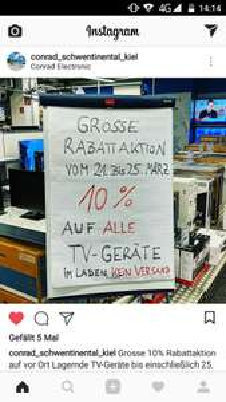 Conrad Electronic Kiel 10% auf ALLE TV-Geräte vor Ort