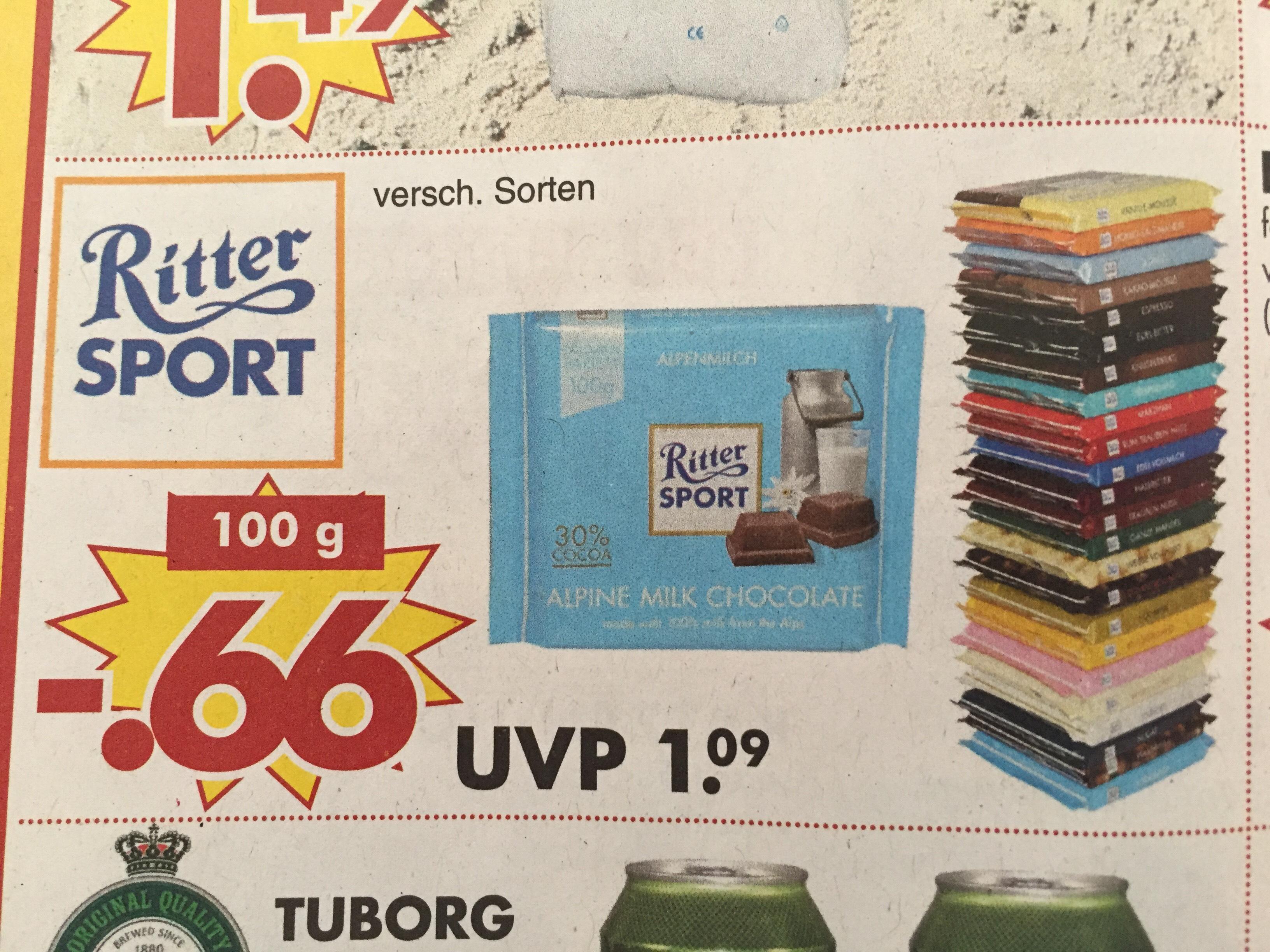 """100g Ritter Sport 0,66€ bei JAWOLL """" 23+24.03"""" diverse Sorten"""