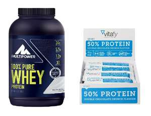 900g Multipower 100% Pure Whey Protein Natural + 12 x Vitafy Essentials 50% Protein Riegel