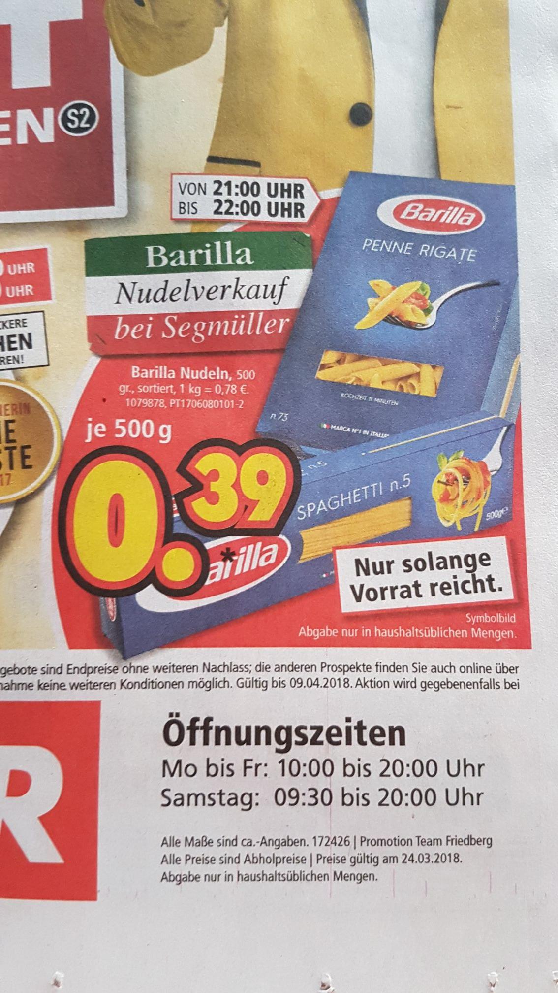 (Lokal) Segmüller Barilla Megatiefpreis (auch Integeale)