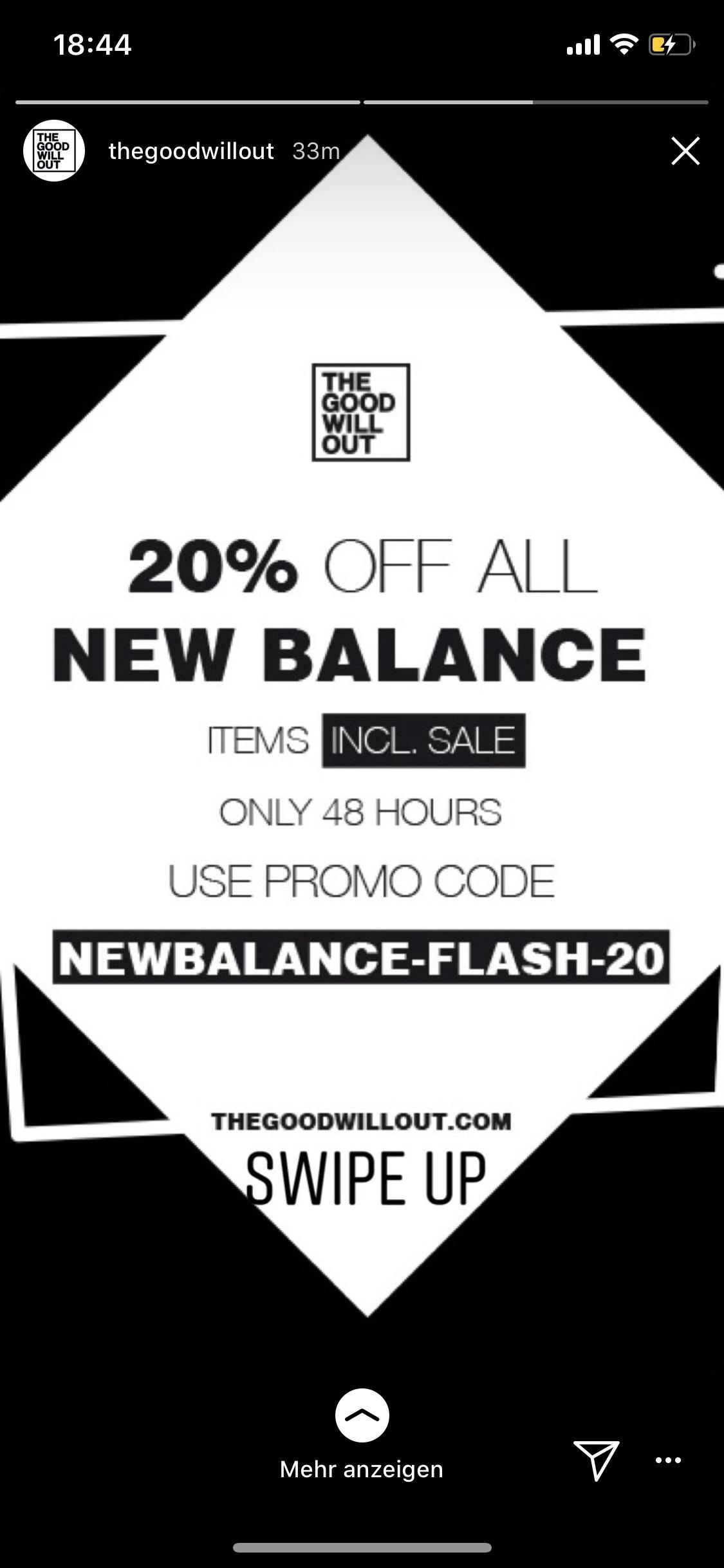 20% auf ALLES (auch auf den Sale) von NewBalance bei The good will out