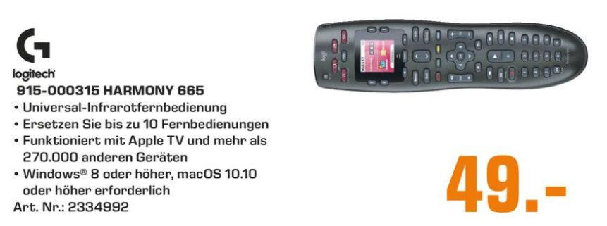 [Regional Saturn Fürth/Nürnberg] Logitech Harmony 665 , Fernbedienung schwarz für 49,-€