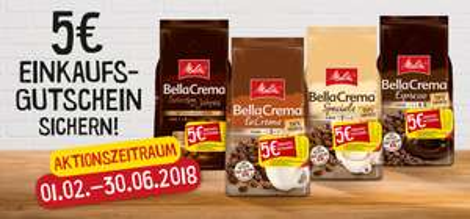 (EDEKA) -  Melitta Bella Crema Ganze Bohnen 1kg für 8,99€ minus 2€ durch Edeka App + 5€ Einkaufsgutschein
