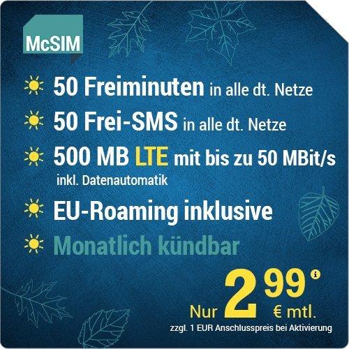 [Amazon Prime] Monatlich kündbarer Mini-Vertrag mit 500MB LTE + 50 Freiminuten und SMS und Datenautomatik für 2,99€/Monat