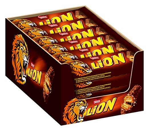 Nestle Lion Schoko-Riegel (mit Karamell, Milch-Schokolade) 24er Pack (24 x 42g) Großpackung [AMAZON PRIME]